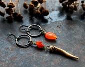 "Rune Othila earrings, Astrid Viking earrings, Norse pagan earrings, ""Ancestral Hall"", asymmetric bohemian earrings, rustic earrings"