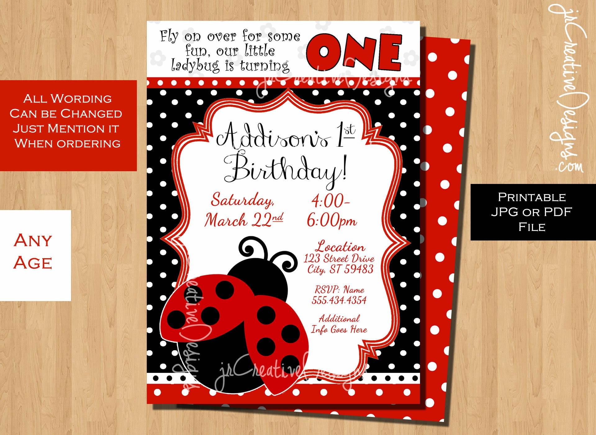 ladybug birthday invitation lady bug invitation ladybug party