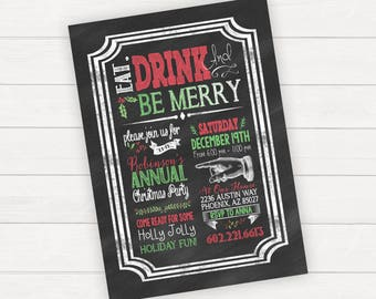 Christmas party invitations, Christmas party invite, holiday party invitations, holiday party invite, eat drink and be merry, Xmas party