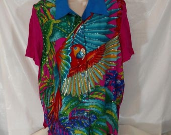 DIANE GILMAN Vintage Sequin Parrot Tropical Blouse Shirt Top SILK Women Size L Multi-color