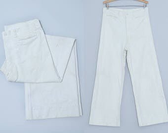 1940s Sailor Pants US Navy WWll White Cotton High Waisted Flared Leg Pant 32 x 28
