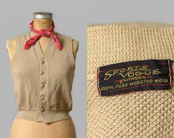1940s Sweater Vest Beige Wool Knit Sweater Collegiate Sports Vogue Knitwear Sweater