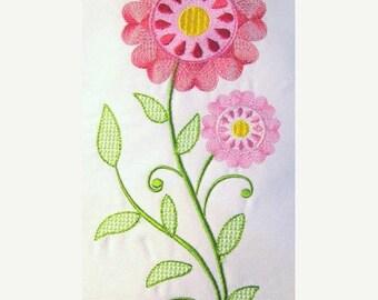 ON SALE Vintage Flower 01 Filled Machine Embroidery Design - 5x7 & 6x8
