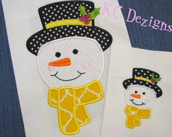 Snowman Face Machine Applique Embroidery Design - 4x4, 5x7 & 6x8 - Christmas Applique - Christmas Design - Christmas Embroidery