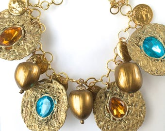 Aqua and Topaz  'Circles and Acorns' Charm Necklace in Gold Metallic by Pauletta Brooks-Gold Necklace/Choker