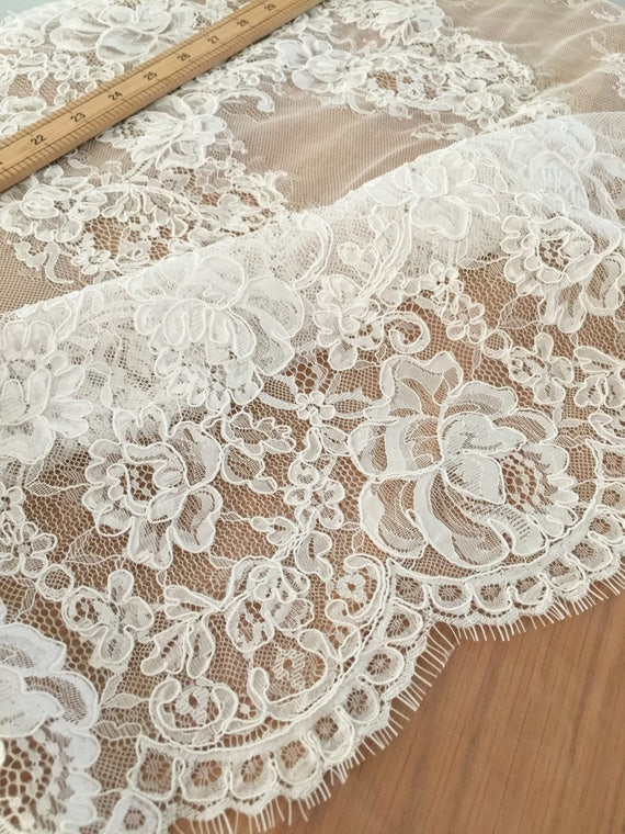 Exquisite French Alencon Lace Fabric Trim beautiful Bridal
