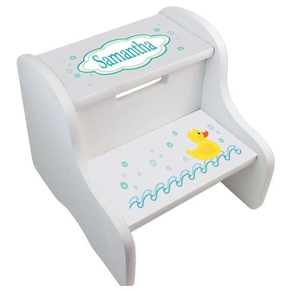 Personalized Bath Rubber Ducky Step Stool For Girls And Boys