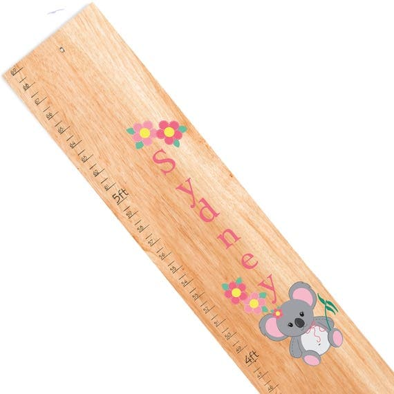 Personalized Natural Wooden Growth And Height Chart With Koala