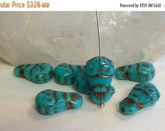 ON SALE Czech Glass Owl Bead Bronzed Turquoise18 mm x 11 mm QTY 4