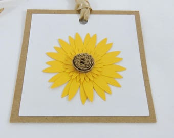 Sunflower Paper Flower Gift Tags Set of 6 for Birthday Party, Baby Shower or Wedding Decor Custom Colors Available