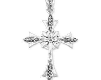 Sterling Silver Fancy Vintage Inspired Ornate Marcasite Cross Pendant