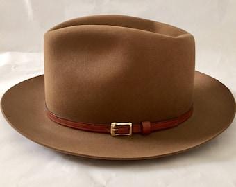 Vintage 1960s 70s Churchill Ltd Brown Fedora Godfather/Homburg Style Hat 7 1/8