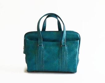 vintage Samsonite blue green tote travel bag