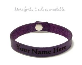 Leather Bracelet, Quote Bracelet, Personalized Leather Bracelet, Custom Laser Engraved Name Bracelet, Engraved bracelet