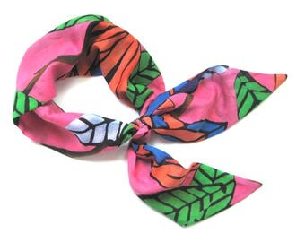 Wide Hair Scarf, Bandana, Hawaiian Scarf, Head Wrap, Women Gift, Turban, Handbag Scarf, Gift for Her, Under 20 Dollars, Ready to Ship