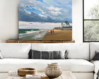 "Beach Decor Original Oil Painting ""Along the beach"" by B. Kravchenko. FREE SHIP"