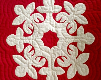 "Hawaiian quilt - wood rose pattern - hand appliquéd & hand quilted - 25 3/4"" x 26 1/2"" - red and yellow - vintage 1970s"