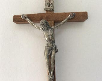 Wooden Cross - Crucifix - INRI banner -  Wall crucifix - Jesus Decor - Made in Italy - Christian Decor - Vintage Cross  - wall decor