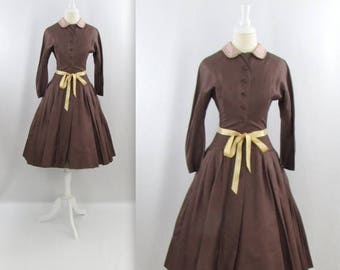 SALE Jack Liebman 1950s Dress - Vintage 50s Full Skirt Cocktail Dress w/ Peter Pan Collar in xSmall Small