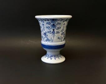 Vintage Delft Pottery Vase, Blue Tones, Holland, Colonial Williamsburg Restoration