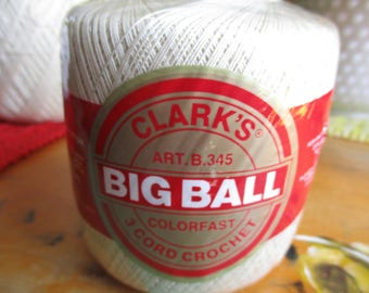 Ecru Crochet Thread Cotton Clarks Big Ball - 1 Skein  - 400 Yards Crochet, Knit - Size 20 3 Cord