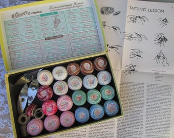 Vintage Tatting Lot 3 Metal Shuttles  21 Spools of Tatting Lace Thread Assortment of Colors Solid & Variegated Instructions