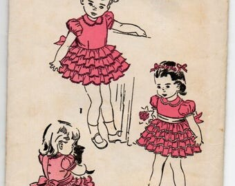 Girl's Dress With Ruffles Ties In Back Peter Pan Collar Puff Sleeves Children's Size 2 Used Vintage Sewing Pattern Advance 5066