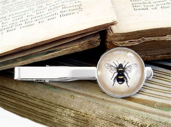 Honey Bee Tie Clip - Bee Tie Bar in Silver - Sherlock Holmes
