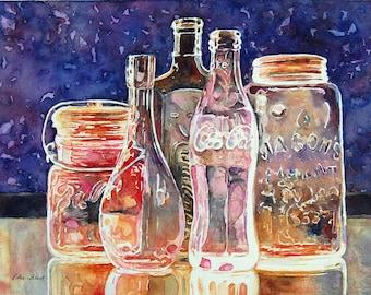 Watercolor ORIGINAL - Antique Glass Two - bottle, glass, vintage, Coca Cola, Mason jar, Ball jar, wine bottle