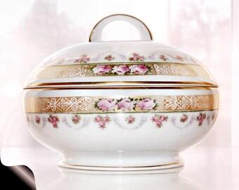 Antique H C ROYAL BAVARIA Footed Powder Box Trinket Box Vanity Dresser Porcelain