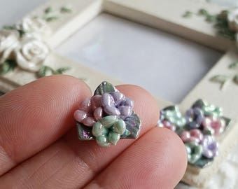 15 mm Three colour (No Holes ) Of Flat Back Glazed Porcelain Flower  (.c)