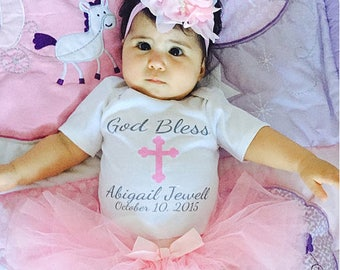 God Bless Name Christening Baptism One Piece or Shirt (Custom Text Colors/Wording)