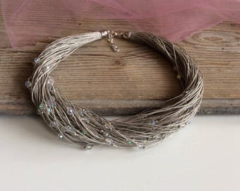 Linen and Czech glass necklace / sparkling crystal beads / wedding necklace / rustic wedding / hemp necklace