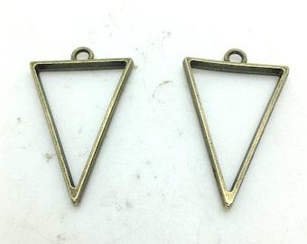 Drop Charms -100pcs Antique Bronze Simple Triangle Drop Charm Pendants 35x25mm