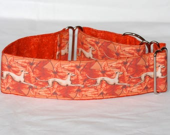 """2"""" Martingale Dog Collar Running Greyhounds on Autumn Leaves"""