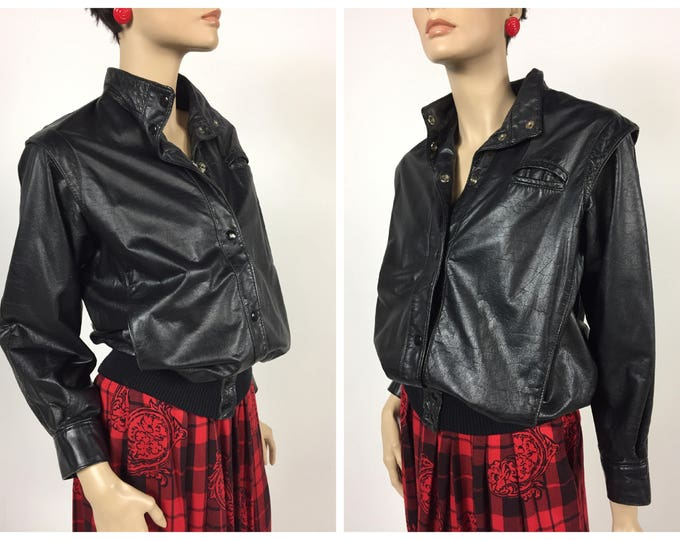 Vintage 1980's Rocker Style Black Leather Jacket - 80's Punk Leather Jacket - Mid 80's Design - Genuine Leather - Biker Jacket - SM to MED