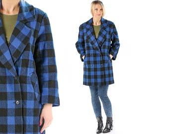 Buffalo Plaid Wool Coat Vintage 90s Blue Winter Coat Outerwear Double Breasted Mini Coat Checkered Winter Jacket Lumberjack Coat . Large