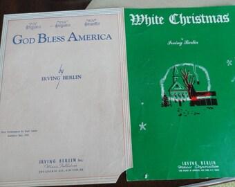 Sheet Music Irving Berlin God Bless America & White Christmas