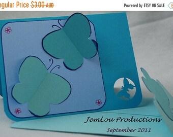 Blue 3D Butterflies Card