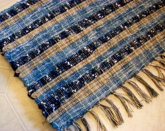 upcycled recycled denim blue  jeans  handmade loom woven rag rug  south dakota made