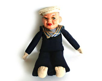 antique Norah Wellings Jollyboy sailor doll, souvenir doll -composition head---1940s--creepy, collectible doll
