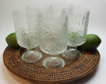 Vintage Indiana Glass Tumblers - Set of 5 - Holds 12 ounces - 5  3/4 Inches Tall, Crystal Ice - Bark Glass - Tree Bark Glass - Water