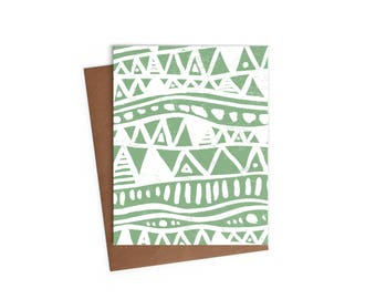 African Triangle Inspired Pattern - Blank Card - Digitally Printed A2 Cards w/ envelope