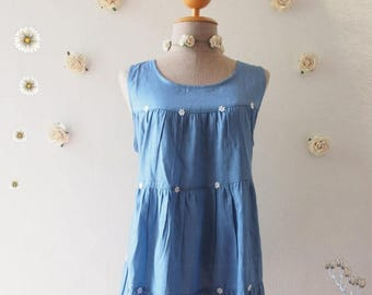 Mid Year SALE Summer SALE One Fine Day Sleeveless Beach Tunic Summer Blouse Cotton Denim Blouse Blue Shirt Hipster Clothing Matunity Blouse