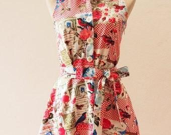 50% OFF Sale Summer Dress Shirt Dress Red Rose Floral Dress Vintage Inspired Summer Sundress Tea Party Dress, Victorian Garden- size XL