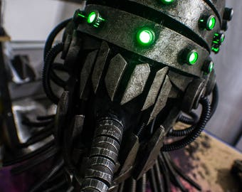 Nightmare Fuel - Full RGB color changeable LED scifi horror DJ helmet with articulated tongue and neck seal - one of a kind - ready to ship