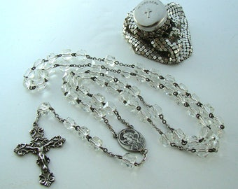 Deco Era Rock Crystal Vintage Sterling Rosary & Whiting Davis Mesh Rosary Bag