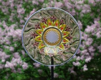 CLEARANCE. Recycled Glass Garden Art, Yard Art Garden, Outdoor Glass Sun Catcher, Garden Art