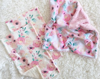 Baby Lovey and burp cloth set, baby gift set, security blanket, minky blanket, blankie, chenille burp cloth, modern baby