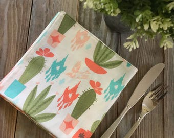 Napkins Cactus Succulant Lunch or Dinner reversible Set of 4